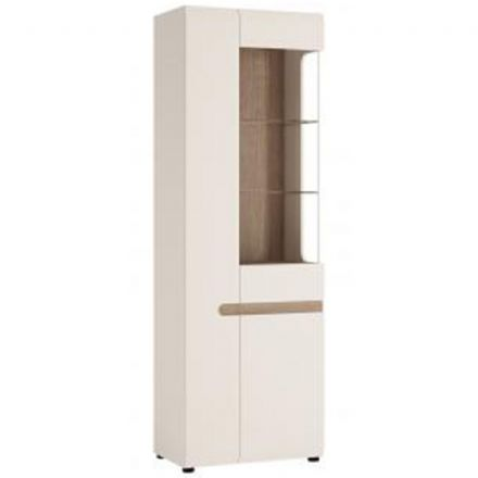 Chelsea Living Tall Glazed Narrow Display unit (LHD) in white with an Truffle Oak Trim (1)